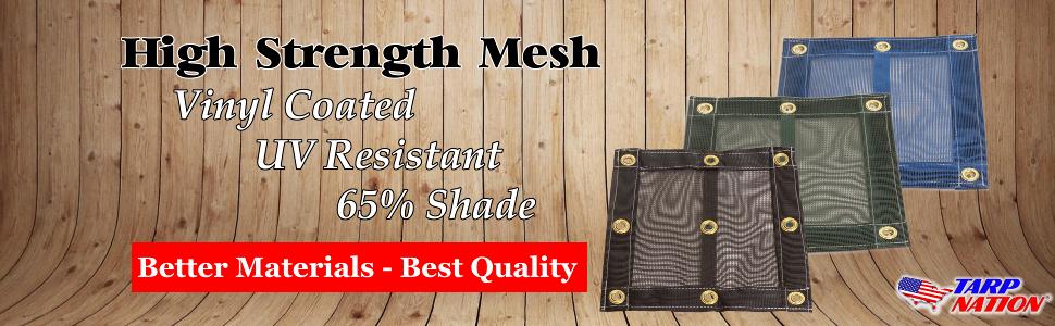high strength mesh tarp, uv resistant, shade tarp