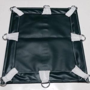 Heavy-duty green vinyl tarp with d-rings