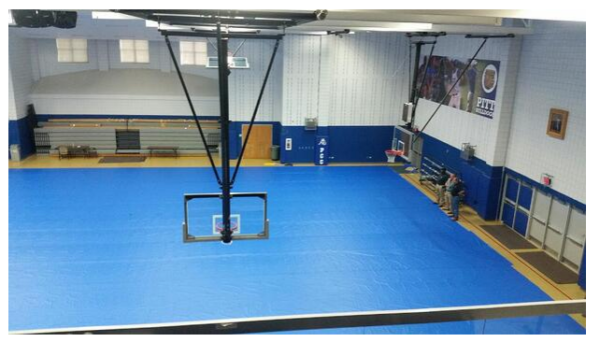 Gym floor protection.
